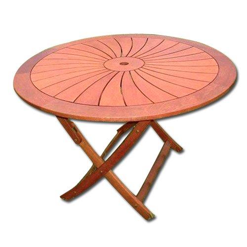 Tavolo tondo in legno pieghevole cm 120 arredo esterno - Tavolo tondo apribile ...