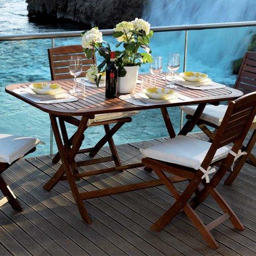 Tavolo pieghevole da esterno in legno yellow balau modello - Tavolo esterno pieghevole ...